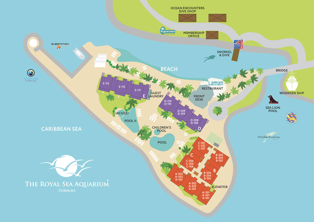 Site plan of The Royal Sea Aquarium Resort in Curacao